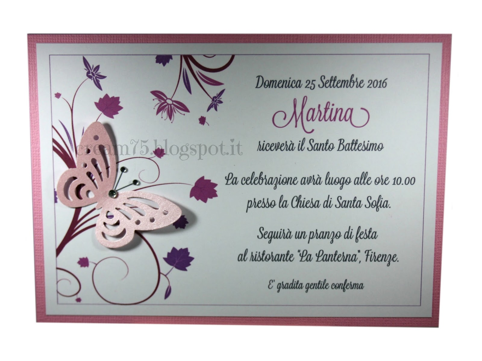 spesso My Sweet Blog: Invito Battesimo con farfalla TO23