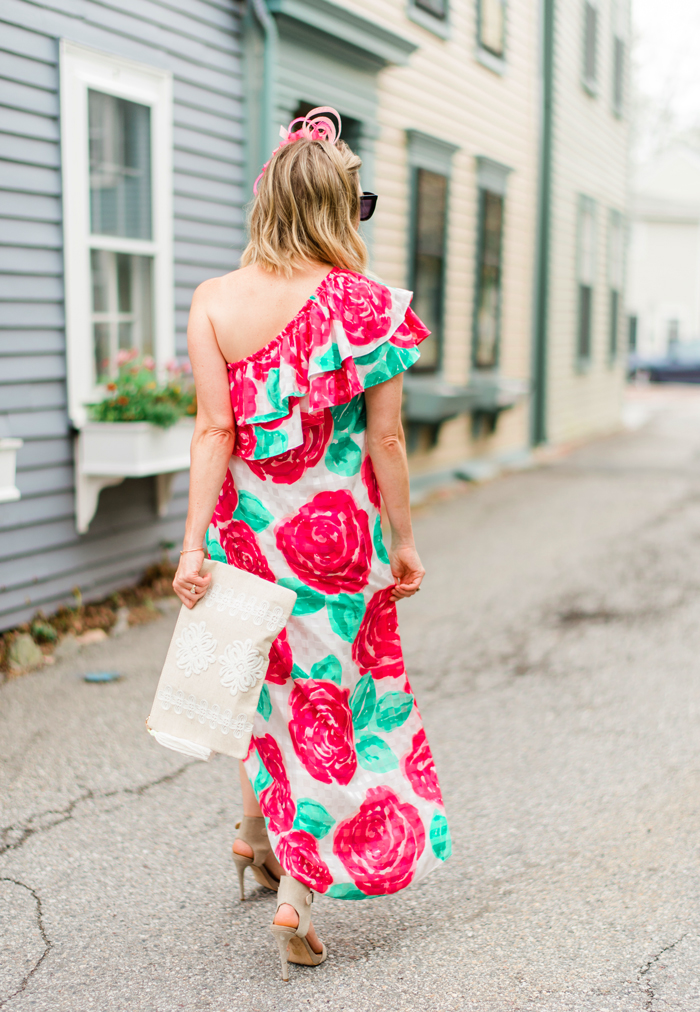 one shoulder ruffled rose printed dress