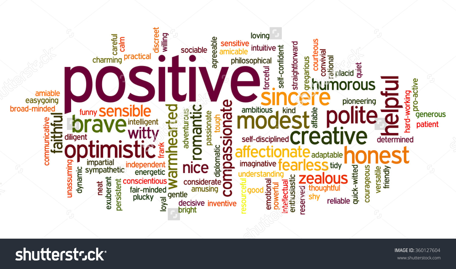 words positive personality describe person related features funny friendly english containing conceptual cloud honest tag such helpful shutterstock vector discreet