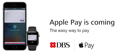 Source: DBS website. A link on the DBS home page leads to a notice that Apple Pay is coming.