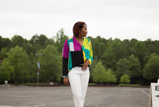 Ginger Jeans & Abstract Blouse