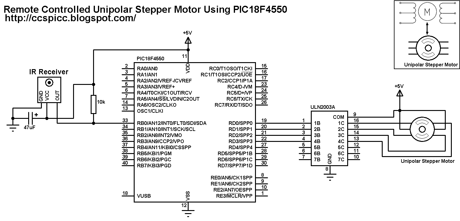 Unipolar Stepper Motor Control From IR Remote Control