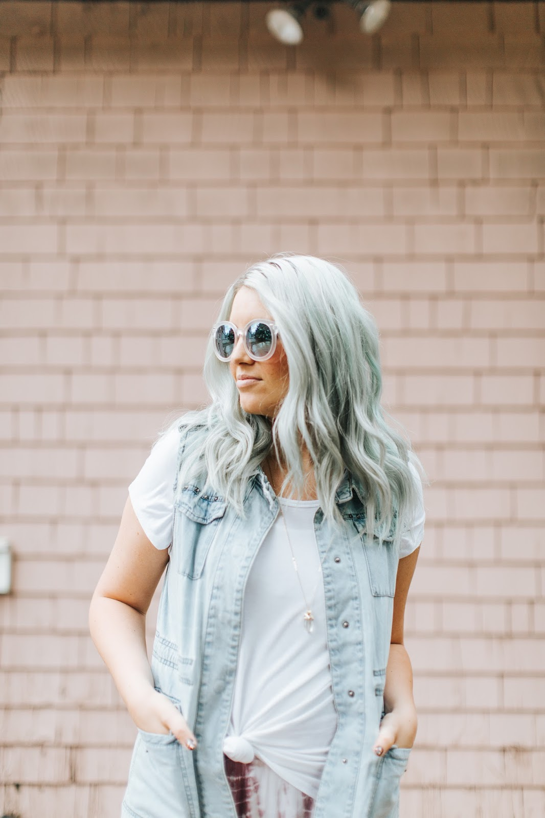 Cute Sunnies, Denim Vest, White Tee, Mint Hair