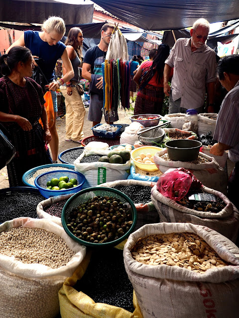 Foods for sale at the Chichicastenango market, Guatemala