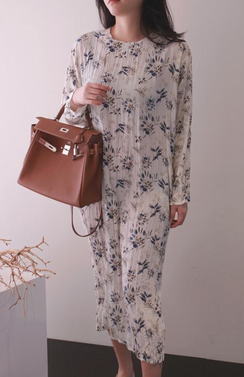Floral Long Sleeve Midi Dress
