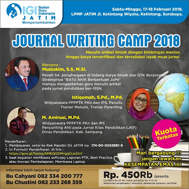 JOURNAL WRITING CAMP 2018 IGI JATIM