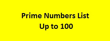 Prime Numbers List Up to 100