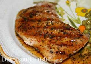 Center cut, boneless, pork chops, lightly seasoned, pan seared or grilled, and finished with an apple cider, brown sugar and mustard glaze.