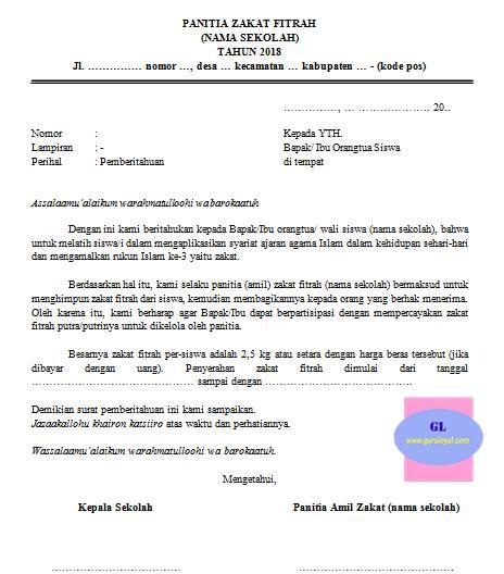 surat pemberitahuan penarikan zakat fitrah siswa