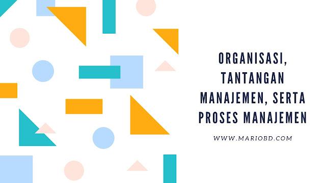 Organisasi, Tantangan Manajemen, Serta Proses Manajemen