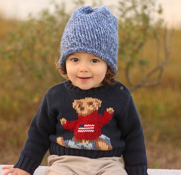 Toddler Beanie Knitting Pattern : Toddler Slouch Beanie Knitting Pattern - Gina Michele