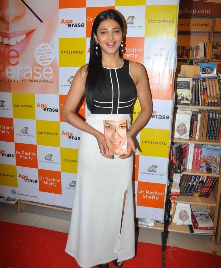 Film Actress Shruti Haasan Long Hair In White Skirt