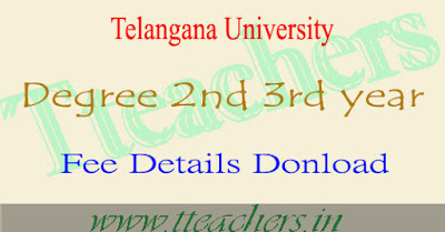 Telangana University degree 2nd 3rd year exam fee last dates 2016-2017