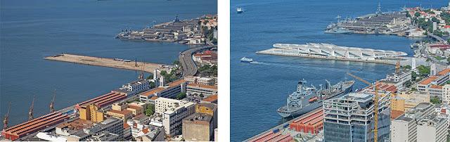 Imagem a esquerda - uma vista superior mostrando um pedaço de terra que avança em direção ao mar. Imagem a direita, mostrando o Museu do Amanhã.