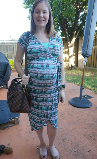 AwayFromBlue | Pregnancy Officewear Atmos&Here Betsy jersey wrap dress in watercolour print