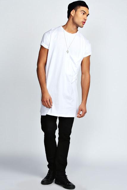 LongLine T-Shirt e Oversized Tee. camiseta masculina como usar, calça preta masculina como usar, como usar estilo all black masculino, bota masculina como usar, como usar camiseta branca masculina