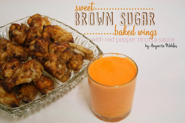 Sweet Brown Sugar Baked Wings with Red Pepper Ricotta Sauce