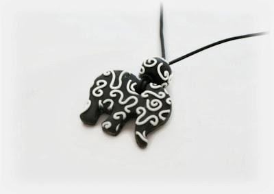 Monochrome Filigree Elephant Pendant handmade from polymer clay by Lottie Of London