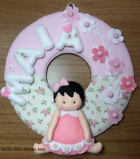 enfeite porta maternidade menina rosa
