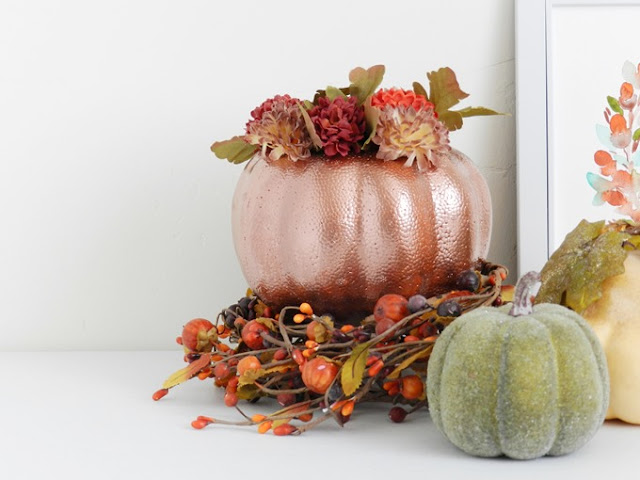 DIY Floral Fall Pumpkin Home Decor