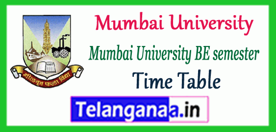 Mumbai University BE Engineering 1st 3rd 5th 7th Semester Exam Time Table
