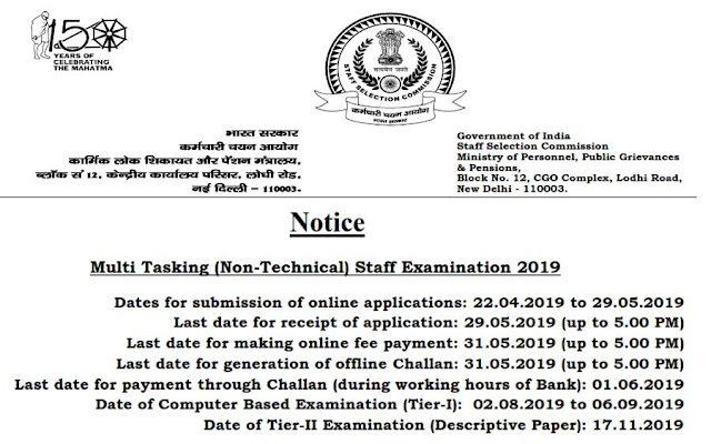 SSC MTS 2019 (Multi Tasking Staff) Non Technical Post