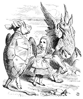 [Mynd: Skjaldbökubróðir og flugskrímslið dansa kringum Lísu.]