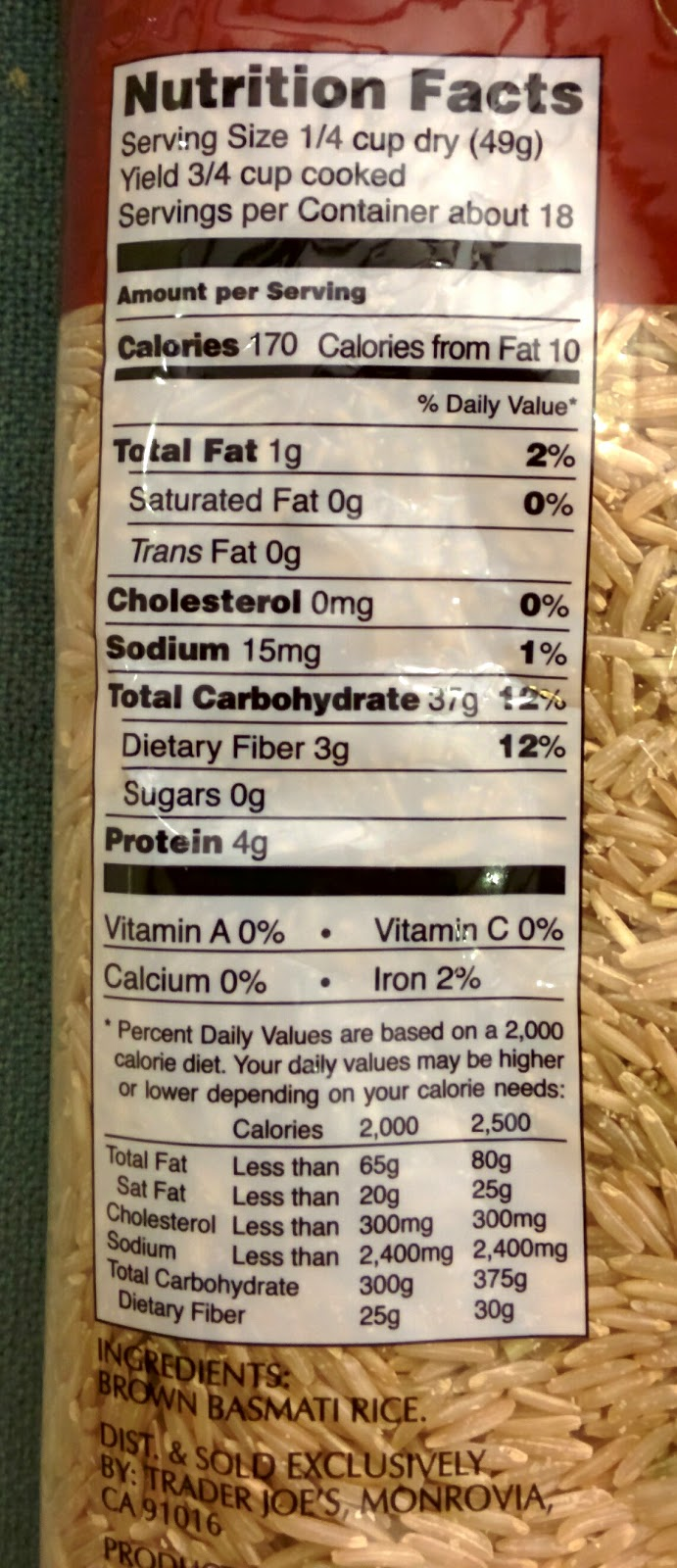 Trader Joe S Nutrition Labels Trader Joe S Brown Basmati Rice