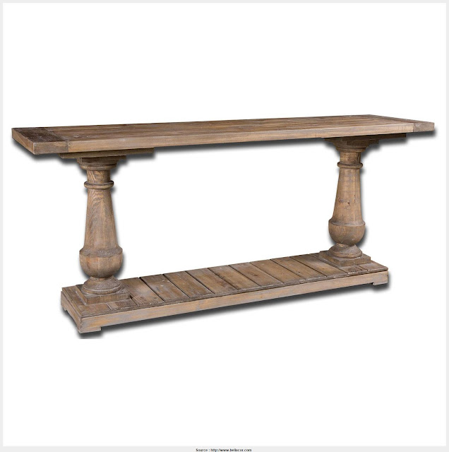 Great Natural Wood Console Table Photo