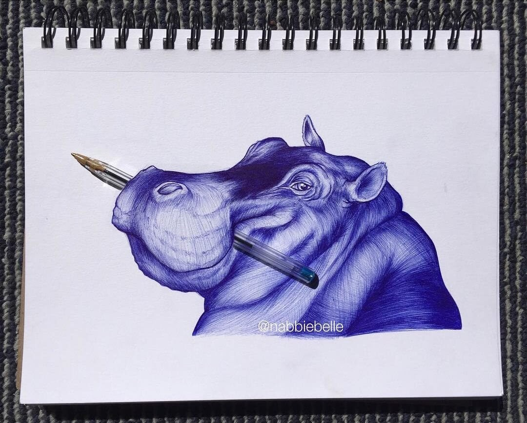 05-Hippo-Annabelle-Marie-Inked-Animals-Drawn-in-Ballpoint-Pen-www-designstack-co
