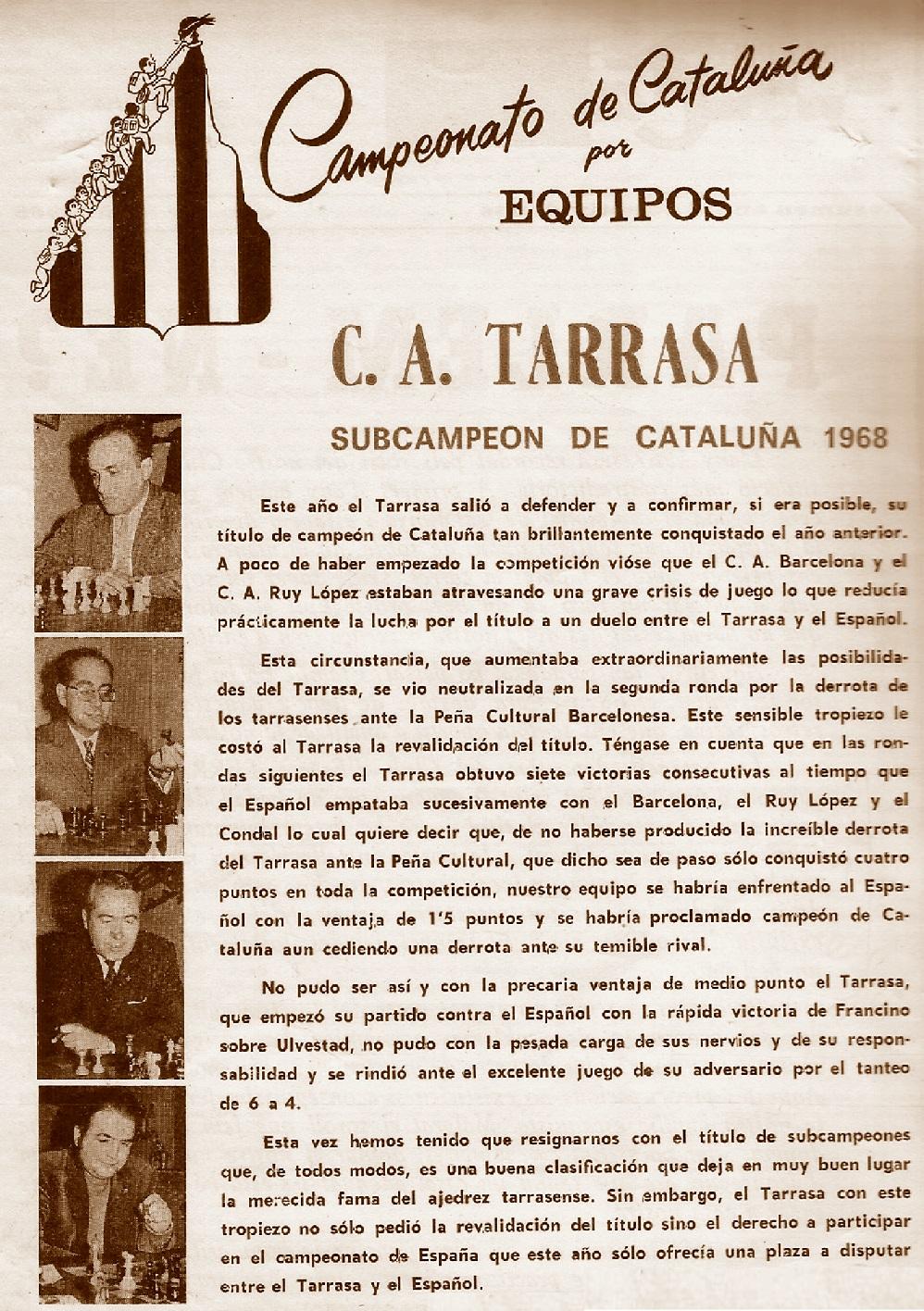 Terrassa Subcampeón del Campeonato de Catalunya De Ajedrez por Equipos 1968