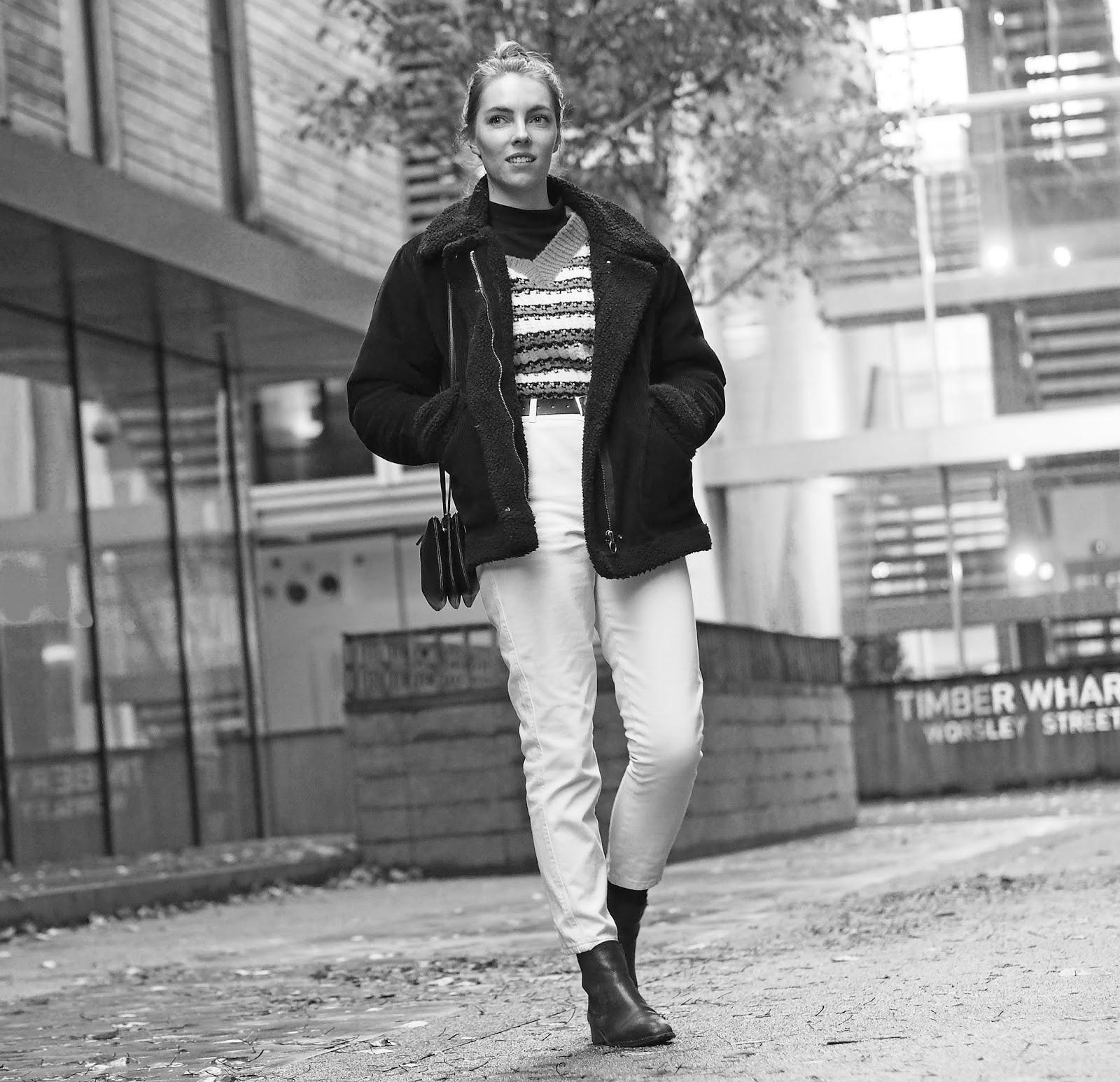 Topshop stripey knit corduroy borg jacket