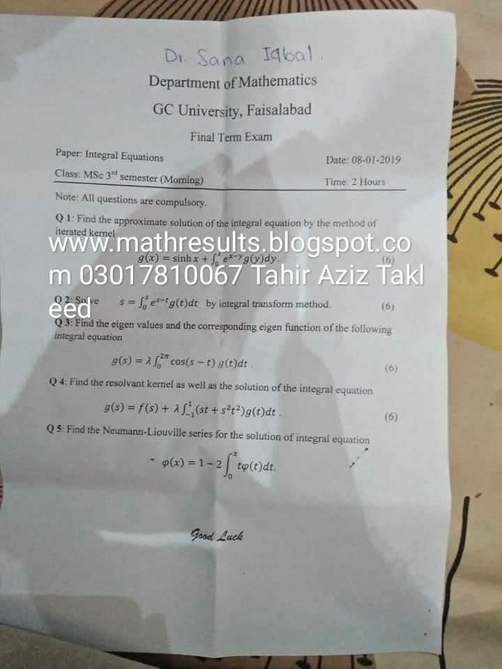 Govt College University Faisalabad (GCUF) Past Papers
