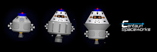 escape pods from left to right: Apollo + Tug, Orion II, and Orion III
