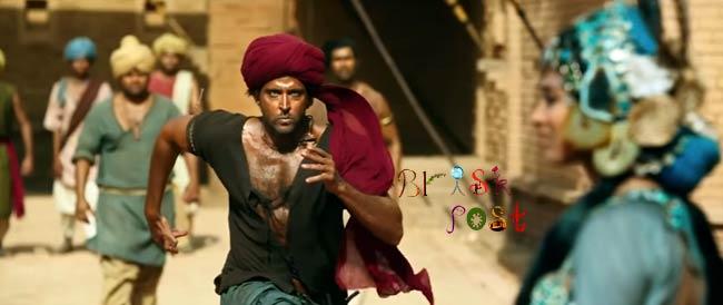 Hrithik Roshan in tall, dark, handsome look running in mehroon turban