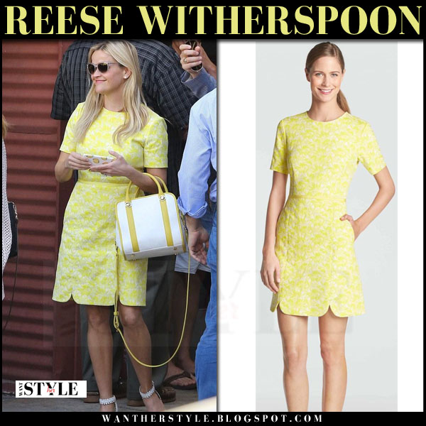 Reese Witherspoon in yellow dress draper james hutton what she wore