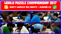 This is the video from World Puzzle Championship 2017 round 22 which was named Do not Worry Be Happy