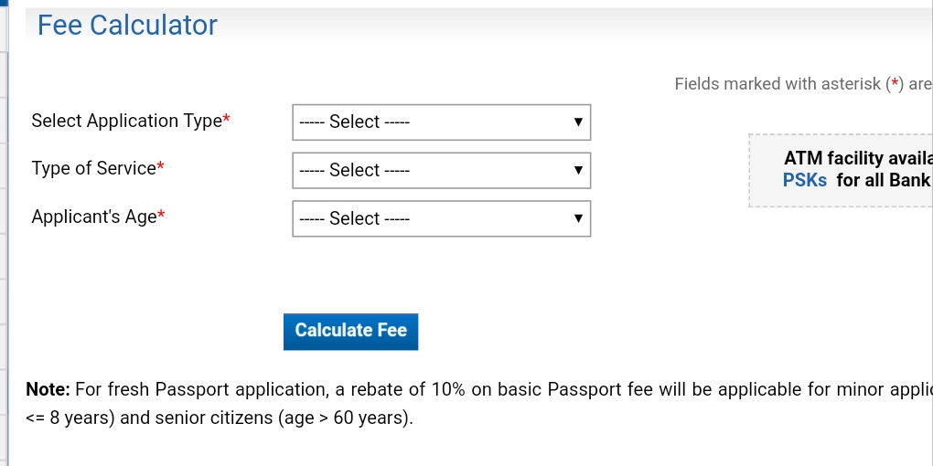 Indian Passport fees calculator