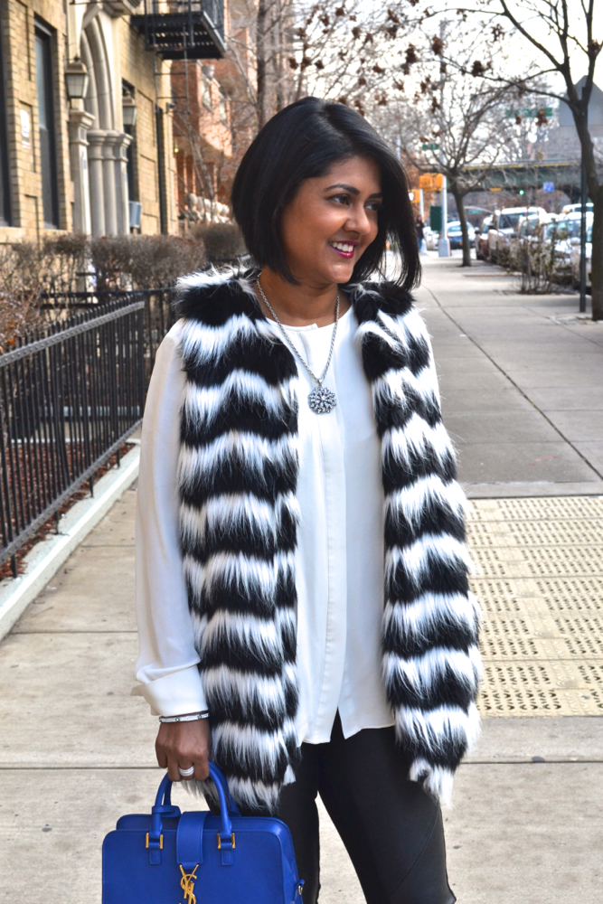 Mandee faux fur vests black and white
