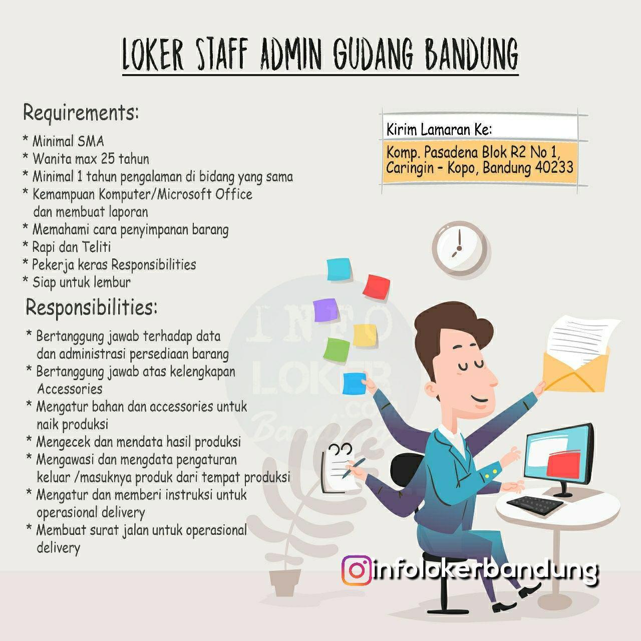 Lowongan Kerja Staff Admin Gudang Dazena Bandung Desember 2018