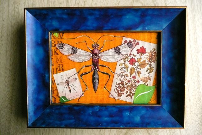 collage, cadmium yellow hue, burnt sienna, papiers coupes, paper cutouts, mosquito