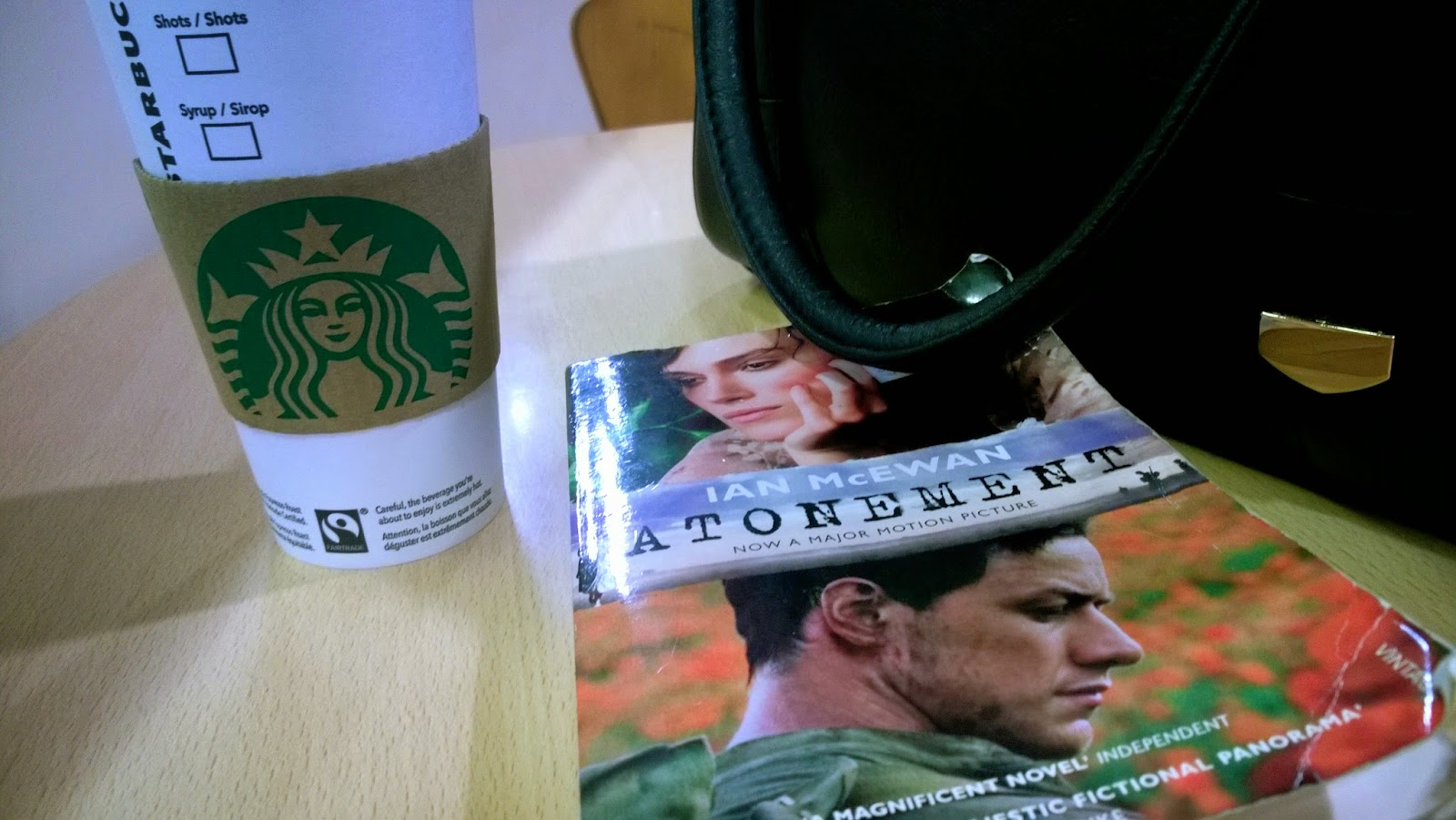 Atonement book and Starbucks coffee