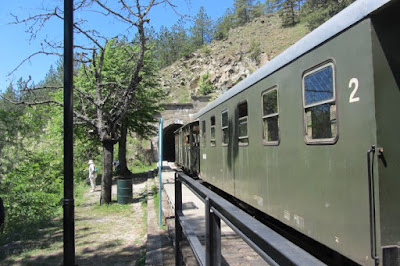 Servië, trein Mokra Gora gaat tunnel in
