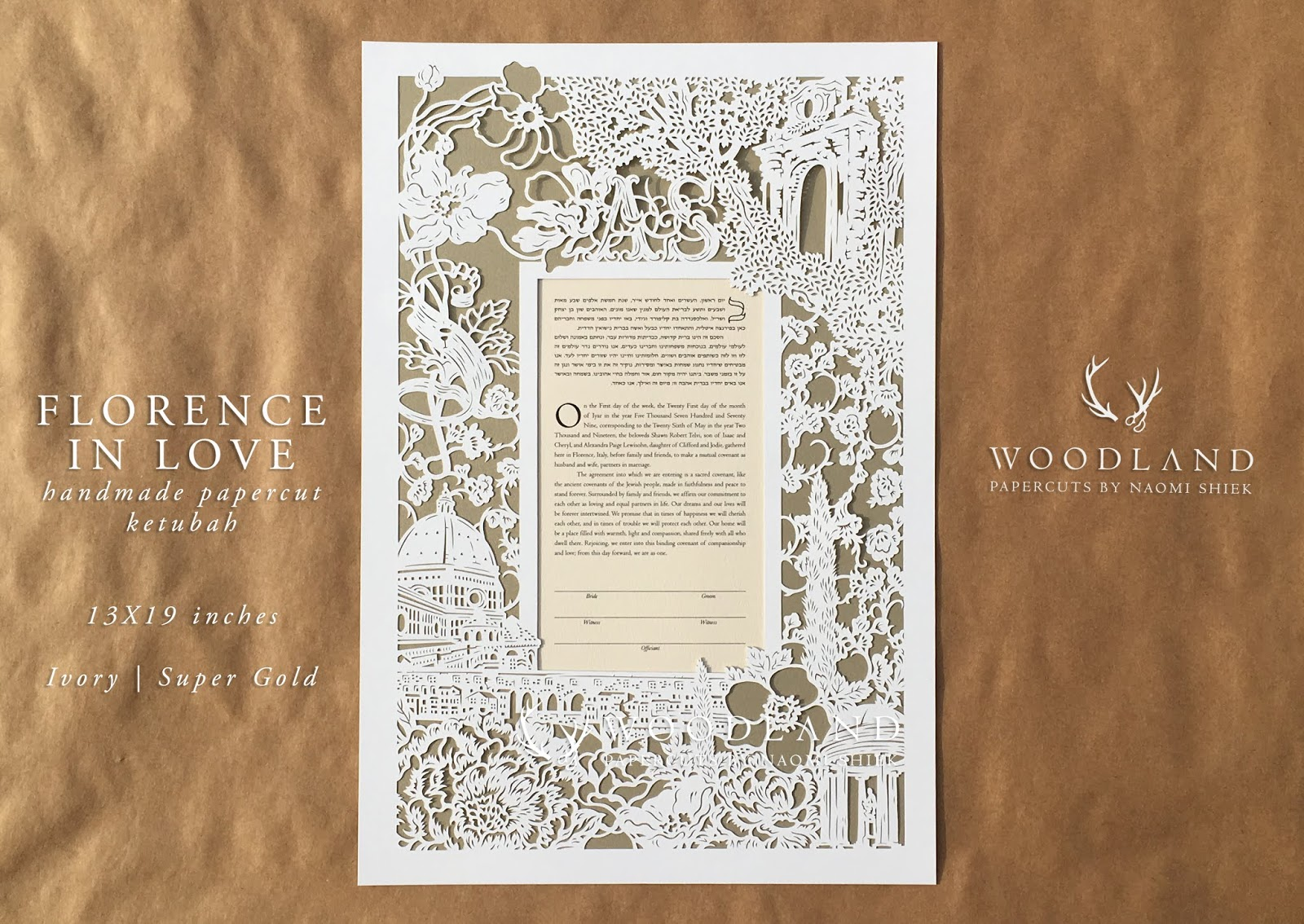 Handmade custom papercut artwork, this papercut ketubah was commissioned for a destination wedding in Florence, Italy.