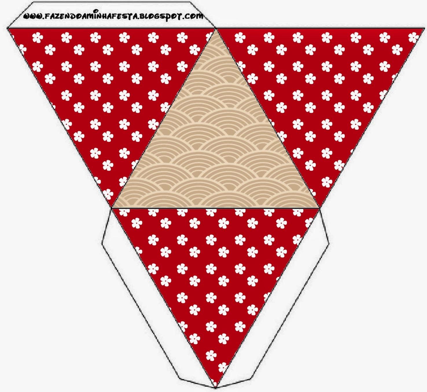 Caja con forma de pirámide de Fiesta Estilo Japonés.