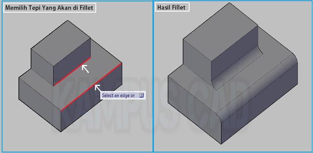 CARA MENGGUNAKAN FILLET PADA OBJEK SOLID 3D