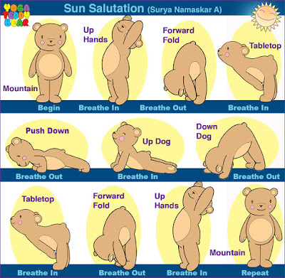 yoga, yoga pose, yoga teddy bear, sun salutation, surya namaskar