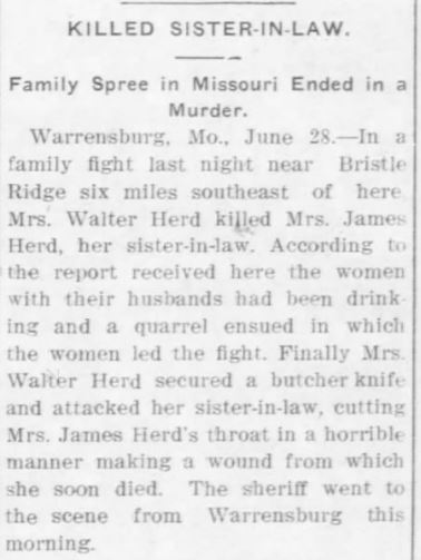 SHOW ME - Johnson County - Western Missouri History: Some Murders in