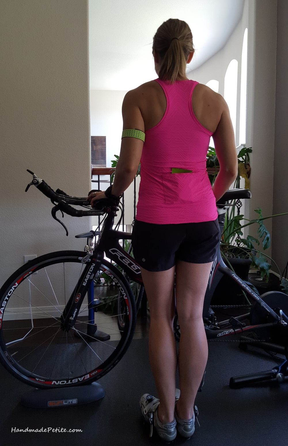 Handmade highviz pink cycling top with back pocket