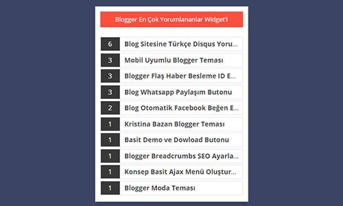 Blogger En Çok Yorumlanan İçerik Widget Mesajları Eklentisi